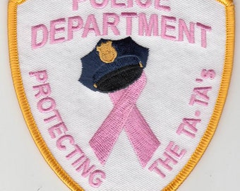 """Breast Cancer Awareness Police Protecting Ta-Ta's Pink Patch (4"""")"""