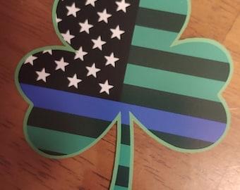 "Irish Police Blue Lives Matter Shamrock Decal (4"")"