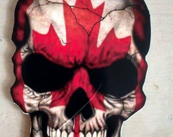 """Canada Flag Maple Leaf Skull Decal (4"""")"""