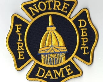"""Indiana University of Notre Dame Fire Department Fighting Irish Patch - new (4"""")"""