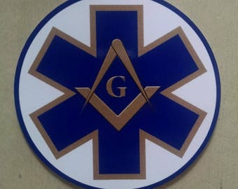 "Masonic Paramedic EMS Star Of Life Decal (4"")"