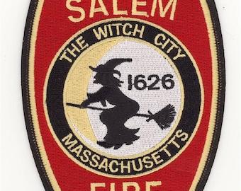 """Massachusetts Salem Fire Department Patch Halloween Witch (5"""")"""