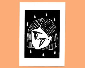 Oystercatcher linocut print