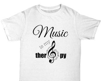 music is my therapy t shirt music gift musical tee music tshirt musical gift gift for singer for musician treble clef tee