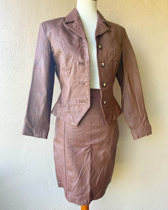 Brown Leather Blazer and Skirt Set