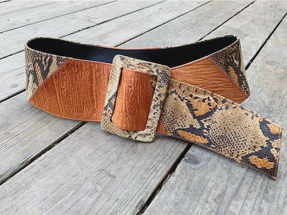 Leather Snake Print Belt