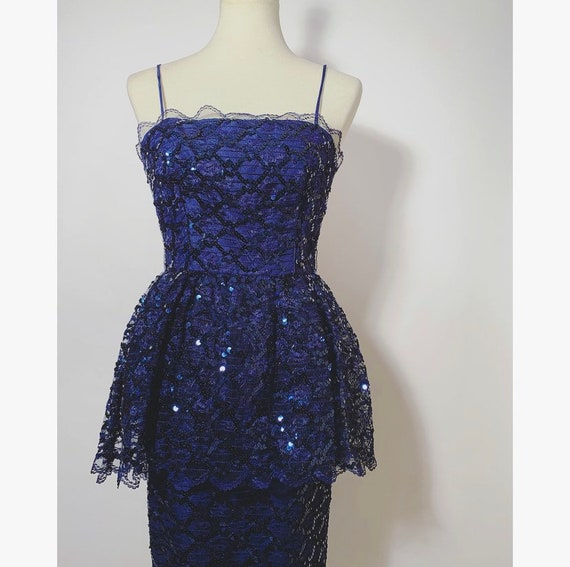 Retro Navy Sequin Dress