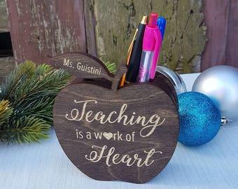 Teacher Pencil Holder | Personalized Teacher Gift Ideas | Wooden Pencil Holder | Wooden Apple Gift | Christmas Gift for Teacher