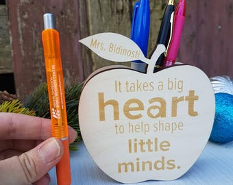 Personalized Teacher Gift Ideas | Wooden Pencil Holder | Wooden Apple Gift | Teacher Pencil Holder | End of School Year Gift for Teacher