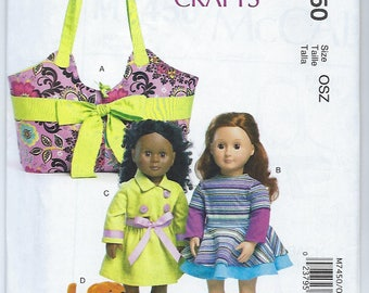 "McCalls 7450 - 18"" Doll Carrier, Clothes & Puppy"