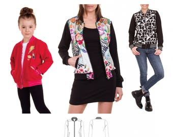 Jalie 3675 - CHARLIE Bomber Jacket / 27 Sizes / Child & Adult