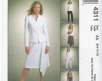McCalls 4311 - MISSES Lined Jacket, Lined Top, Skirt & Pants / Sizes 6, 8, 10, 12