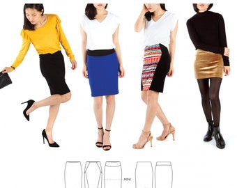 Jalie 3883 -LISETTE Pull-on Pencil Skirt / 27 Sizes / Child & Adult