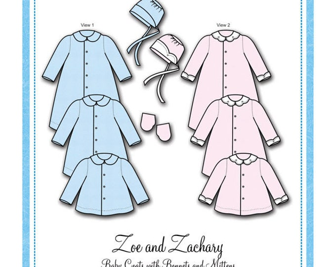 Featured listing image: Bonnie Blue Pattern #111 / ZOE and ZACHARY  / Sizes Preemie, Newborn - 3 mo and 6 mo