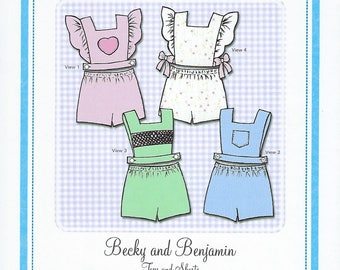 Bonnie Blue Pattern #114 / BECKY and BENJAMIN / Sizes 6 mo - 18 mo and 2 yr - 5 yr