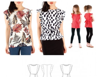 Jalie 3888 - ADÈLE Flutter Sleeve Top and Tunic / 28 Sizes / Child & Adult