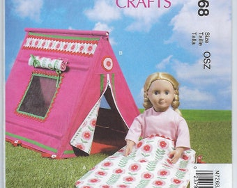 "McCalls 7268 - 18"" Doll Sleeping Bag & Tent"