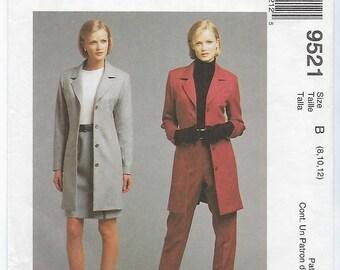 McCalls 9521 (B) - MISSES Lined Jacket, Skirt & Pants / Sizes 8, 10, 12