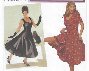 Simplicity 8629 (N) - MISSES Retro Fashion Swing Dresses / Sizes 10, 12, 14