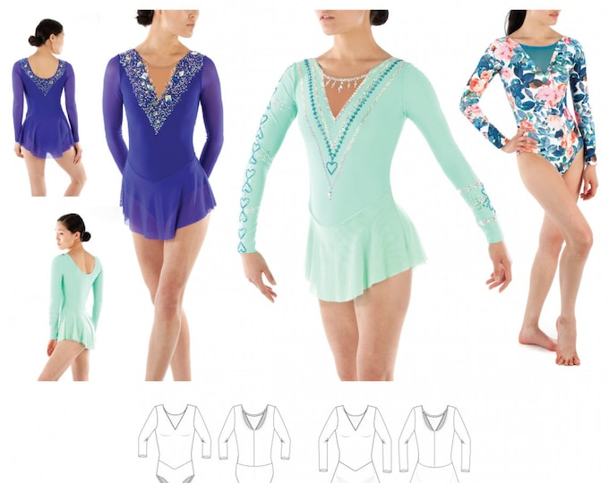 Featured listing image: Jalie 3891 - TESSA Long-Sleeve Dress and Leotard / 24 Sizes / Child & Adult