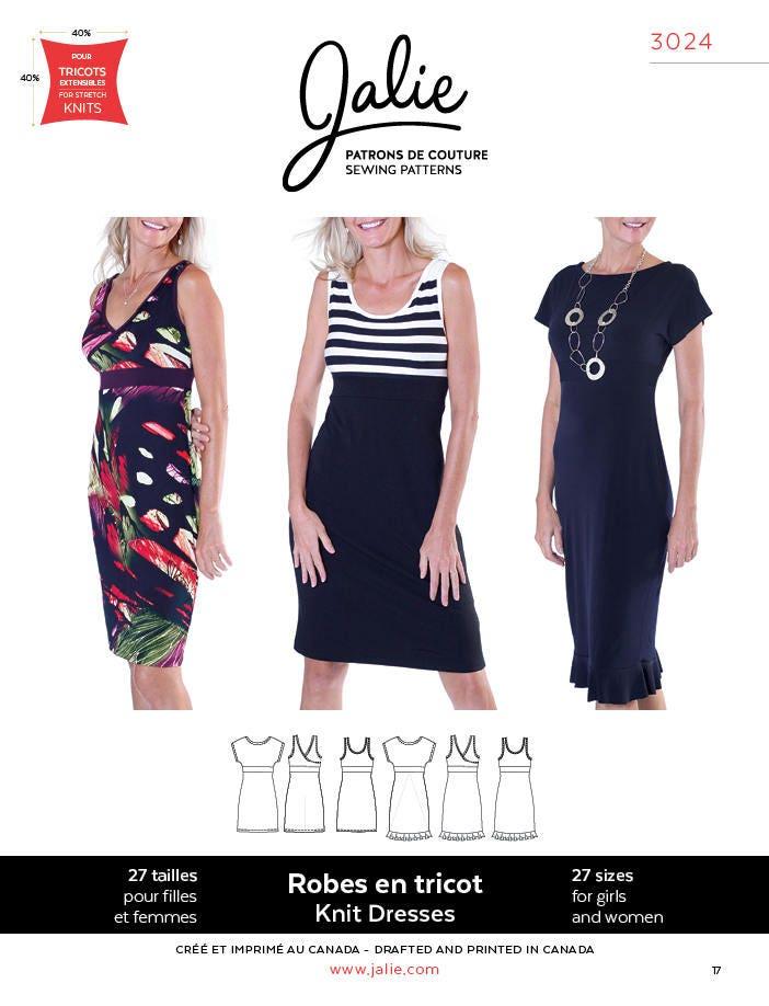 Jalie 3024 Knit Dress With Neckline Variations 27 Sizes Child