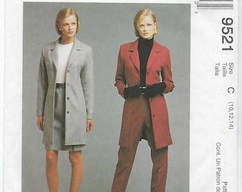 McCalls 9521 (C) - MISSES Lined Jacket, Skirt & Pants / Sizes 10, 12, 14