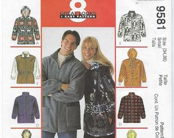 McCalls 9581 - MISSES & MENS Unisex Jacket / Size Small (34,36)