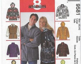 McCalls 9581 - MISSES & MENS Unisex Jacket / Size Large (42,44)
