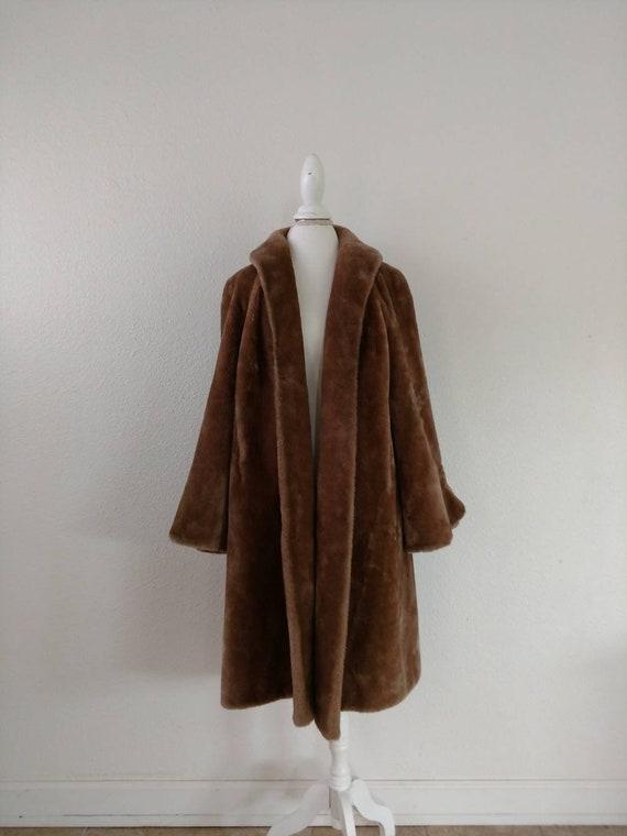 Vintage Fur Swing Coat  60/'s Brown Fur Jacket