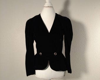 Black velvet crop jacket, Valentine's crop jacket, formal, bolero, holiday,  Christmas, new years, prom, rhinestones, bow, Patra, size 6