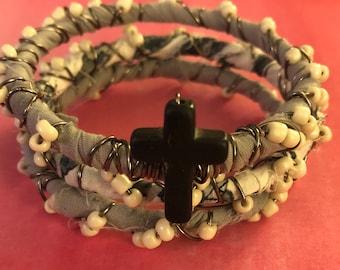 Cream glass beads boho bangles- set of three