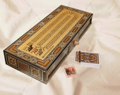 HQ Continuous Cribbage Board Box Inlaid with mother of pearl, include (16 1 2 quot -3 Tracks Cribbage Board Box - Playing card, 9 Pegs) gift