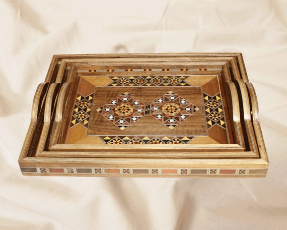 Hand-crafted handmade mother of pearl inlay walnut wood Christmas Present syria wood tray,mosaic gift Set of three square trays