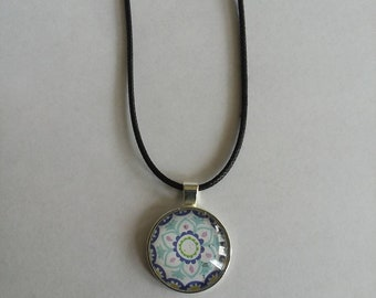 Blue and Pink Mandala Necklace