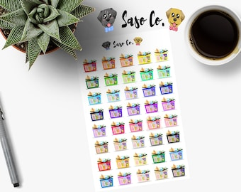 Multi-colored Grocery / Shopping Basket Planner Stickers