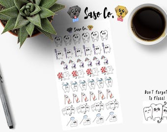 Hand Drawn Dental Care Planner Stickers