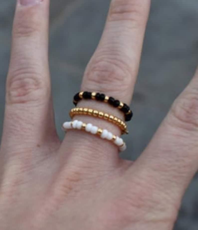 Gold Stackable Rings Dainty Beaded Rings Set of 3 Beaded Rings