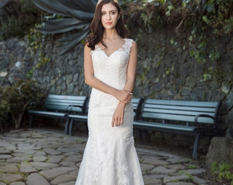 9933a19e84013 Loretta (Lace only) - Selena Huan handmade Frosted Alençon Lace illusion  back fit and flare gown wedding dress - Final Sale