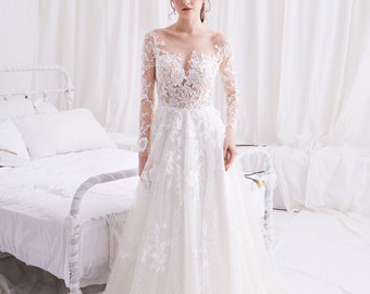 2549550969cb3 Syrinx - Selena Huan Long Sleeves Water-waive Embroidery French Floral Lace  A-line Gown