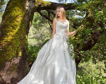 Lilium - Selena Huan Matte Laminated Satin Strapless Ball Gown Wedding Dress - New Sample, 65% OFF