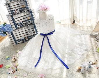 Pearl and Swarovski crystals beaded daisy laces dress