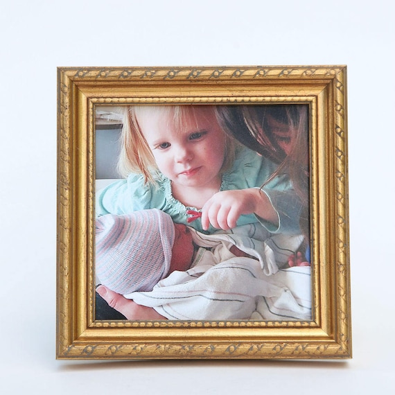 Gold Frame Antique Decor Handmade 4x4 Square Wood Picture