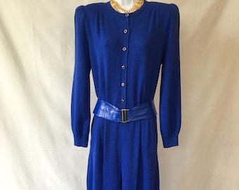 afe3b66682d 1980 s St. John Royal Blue Jumpsuit