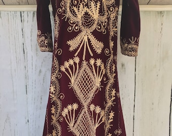 Burgundy Velveteen Caftan Dress with Gold Stitching