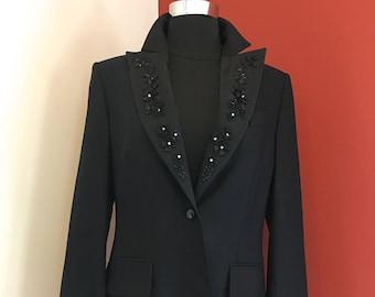 Escada Black Blazer with Floral Applique