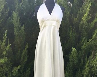 1970s Long Silver Lurex Halter Dress