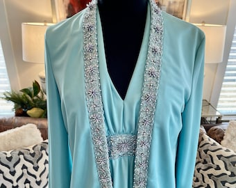 1970s Jack Bryan Powder Blue S/Less Dress and Jacket