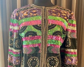 1980s Lawrence Kazar Multi Color Sequin Jacket