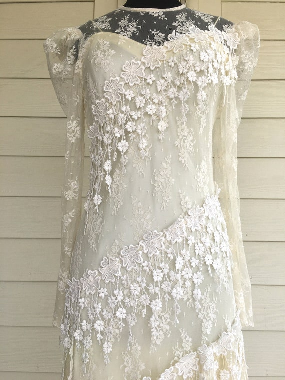 1980s Patra Cream Lace Dress - image 4