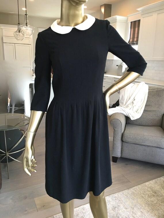 1990s Rena Lange Black Knee Length Baby Doll Dress